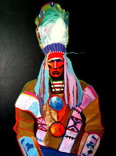 Chief Curly Bear 62x50 Original Painting - John Nieto
