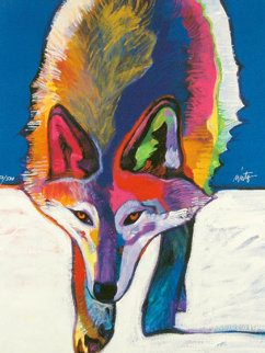 Mexican Gray Wolf Hunting in the Snow 2008 Limited Edition Print - John Nieto
