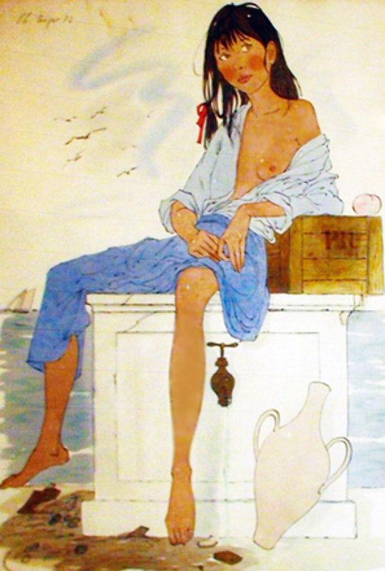 Girl Sitting Watercolor 1972 47x35