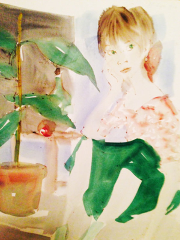 Girl Sitting Watercolor 1966 11x8