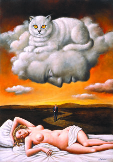 Le Chat 2012 13x10 Original Painting - Rafal Olbinski