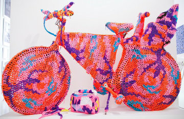 Crocheted Object Life Size Bicycle unique Sculpture 2011 67 in Sculpture -  Olek