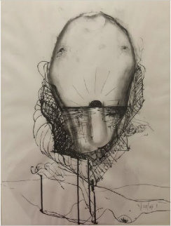 Untitled Drawing 1970 26x19 Works on Paper (not prints) - Nathan Oliveira
