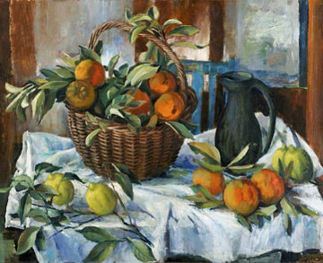 Basket of Oranges, Lemon and Jug 2011 Limited Edition Print - Margaret Olley