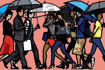 Walking in the Rain, Seoul, Korea Limited Edition Print - Julian Opie