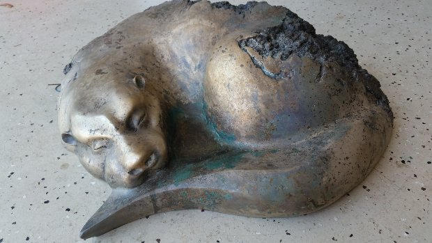 River Siesta - Quiet Otter Bronze Sculpture 24 in