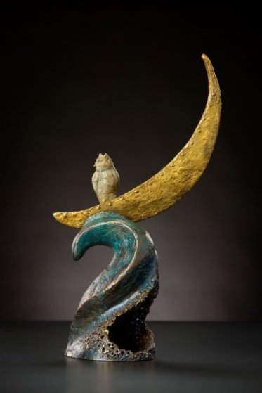 Owl Riding The Moon Bronze Sculpture 21 in