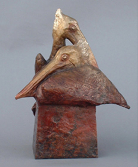 Pelican Affection Bronze Sculpture 16 in