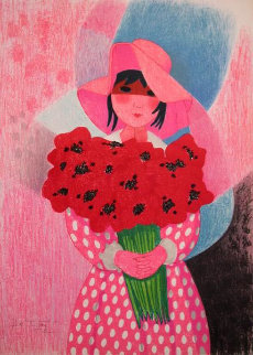 Girl With Flowers Limited Edition Print - Trinidad Osorio