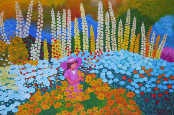 Woman With a Pink Hat in a Field of Flowers 1993 60x85 Original Painting - Trinidad Osorio