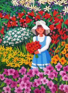 Nina En El Jardin  (Girl in the Garden) 21x25 Original Painting - Trinidad Osorio