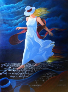 Night Walker 1997 48x46 Original Painting - Victor Ostrovsky