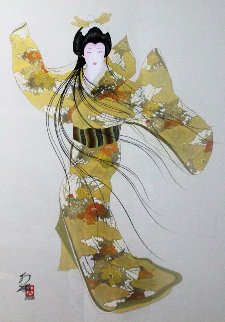 Lady Mieko of Autumn, Pose 2 50x40 Original Painting - Hisashi Otsuka