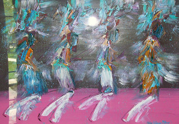 Kachina Dancers 1988 30x42 Original Painting - Pablo Antonio Milan