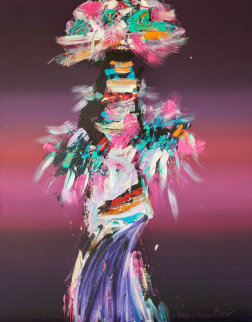 Kachina Dancer 1980 50x40 Original Painting - Pablo Antonio Milan