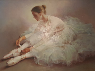 Untitled Dancer Tying Slipper 2000 38x48 Original Painting - Stephen Pan