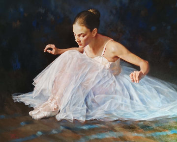 Seated Ballerina 38x48  Original Painting - Stephen Pan