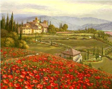 Tuscany Red Poppies 2010 Embellished Limited Edition Print - Sam Park