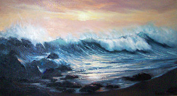 Carmel's Big Splash, California 24x48 Original Painting - Violet Parkhurst