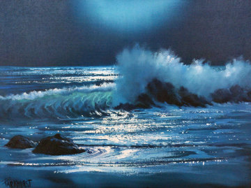 Malibu Moonlight, California 1981 18x24 Original Painting - Violet Parkhurst