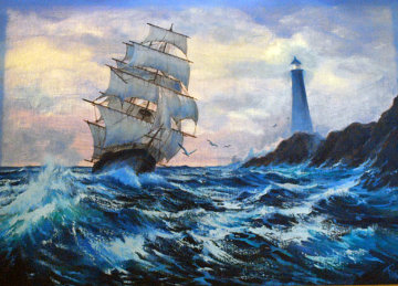 Clipper Ship 1984 36x48 Original Painting - Violet Parkhurst