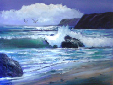 Gail's Foot Steps in the Sand 28x34 Original Painting - Violet Parkhurst