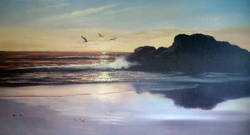 Carmel Beach, California 28x52 Original Painting - Violet Parkhurst
