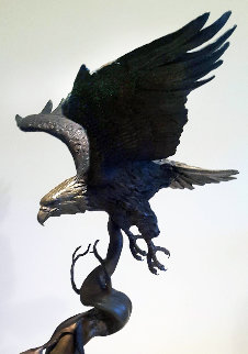 When the Eagle Flies Bronze Sculpture 1984 27 in Sculpture - Steve Parks