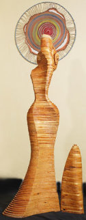 Twisting Lady Wood Sculpture Sculpture - Jitendra Patel
