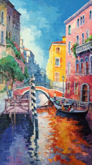 Boaters By Bridge 2000 65x42 Original Painting - Alex Pauker