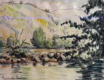 Untitled Landscape Watercolor  21x24 Watercolor - Paul Emile Pissarro