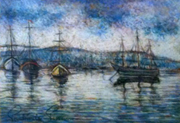 Boat Harbor 21x25 Original Painting - Paul Emile Pissarro