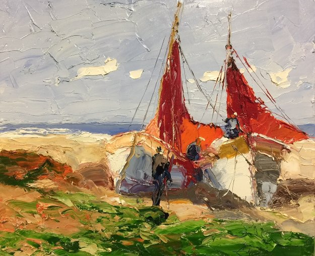 Attending Boats At the Beach 2014 19x23