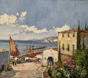 Ligurian Harbor 32x36  Original Painting - Erich Paulsen