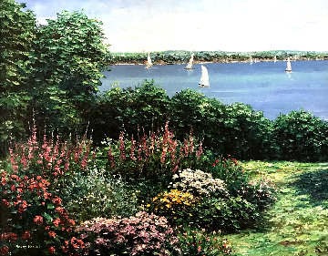 Lake Scene 1990 28x34 Original Painting - Henry Peeters