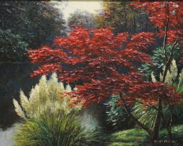 Japanese Maple 1998 34x40 Original Painting - Henry Peeters