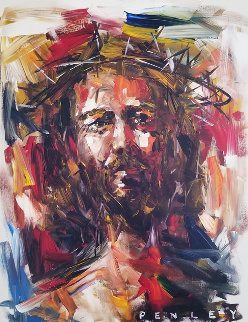 Jesus Christ in Crown of Thorns 2005 40x30 Original Painting - Steve Penley