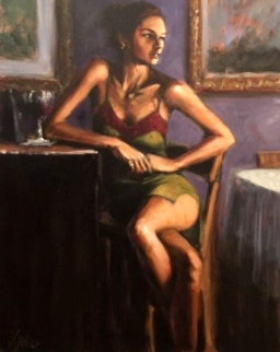 Wait 30x24 Original Painting - Fabian Perez