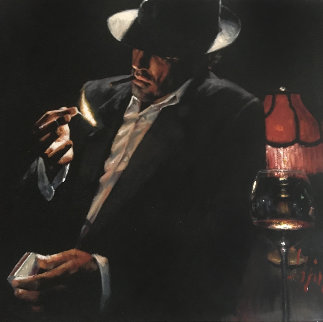 Man Lighting a Cigarette II American Embellished Limited Edition Print - Fabian Perez