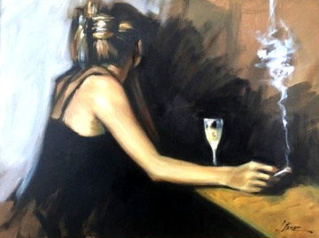 In the Bar 26x32 Original Painting - Fabian Perez
