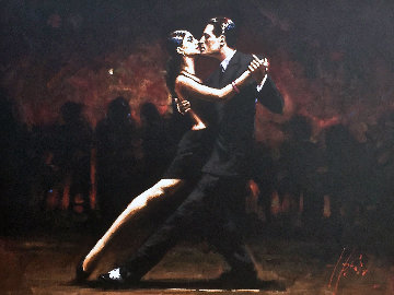 Tango in Paris -Black Suit 2008 53x44 Original Painting - Fabian Perez