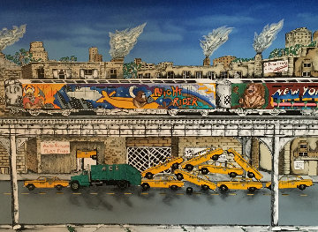 Rush Hour Suite of 2 : Rush Hour And Yellow Taxi 1991 Limited Edition Print - Linnea Pergola