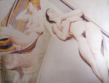 2 Nudes on Hammock 1974 Limited Edition Print - Philip Pearlstein