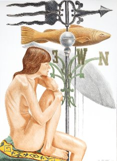Nude Model With Banner And Fish Weathervanes 2010 Limited Edition Print - Philip Pearlstein