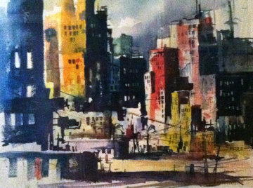 Untitled - Impressionist City Skyline Watercolor 1969 26x32 Watercolor - Endre Peter Darvas