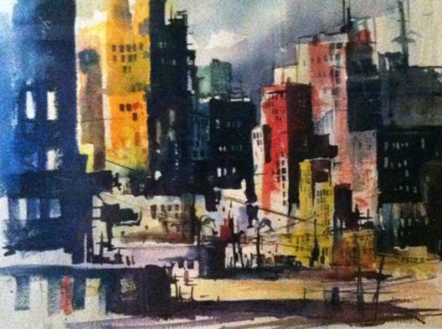 Untitled - Impressionist City Skyline Watercolor 1969 26x32
