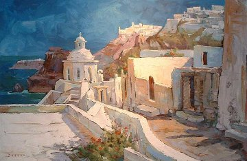 Path to Thira, Santorini 2006 30x48 Original Painting - Endre Peter Darvas