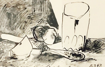 Apples, Glass and Knife (March 11, 1947) PP Limited Edition Print - Pablo Picasso