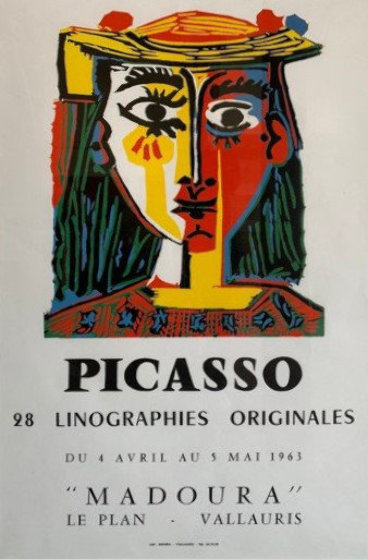 "Rare Original Exhibition Poster For ""Picasso: 28 Linographies Originales, Galerie Madour"