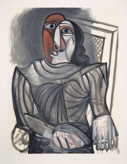 Femme Assise a La Robe Grise Limited Edition Print -  Picasso Estate Signed Editions